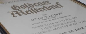 Goldener Meisterbrief, Otto Klumpp geb. 1908